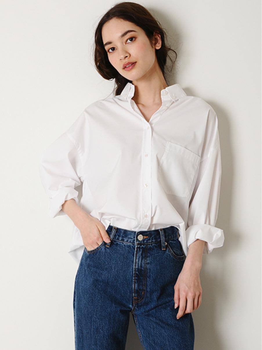 ワイドシルエットボタンダウンシャツ(WHT-0)