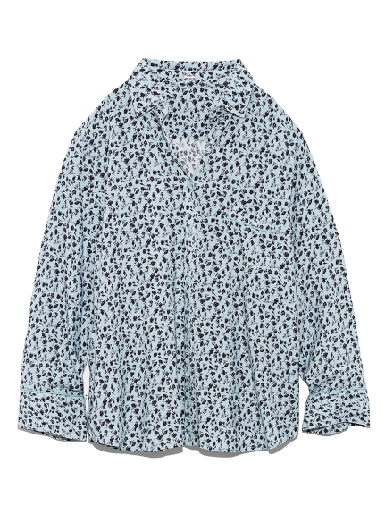 オープンカラーフラワープリントシャツ