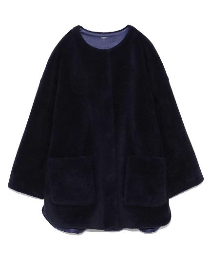 ノーカラーシャツカーブボアジャケット(NVY-0)