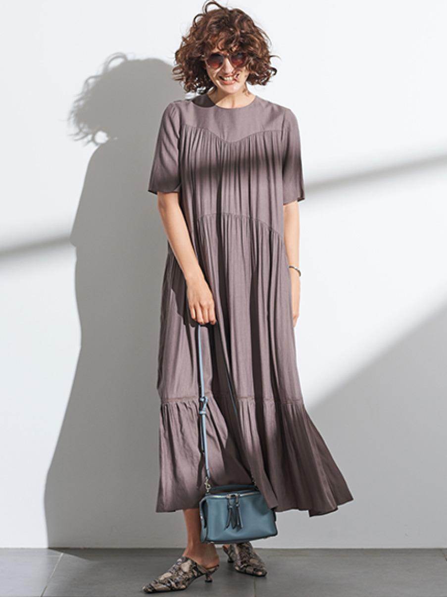 5分袖ギャザーフレアマキシワンピース(MOC-0)