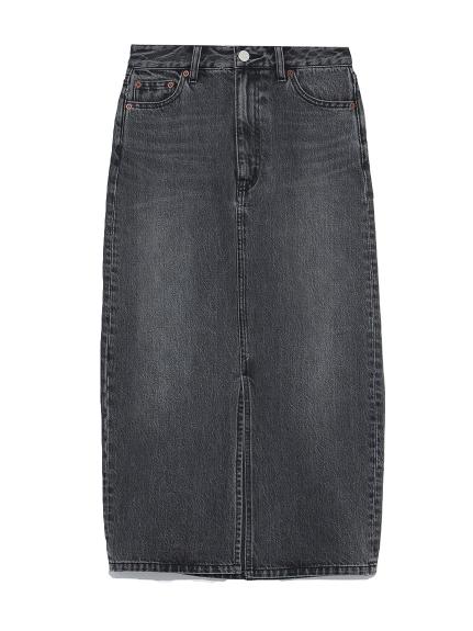 フロントスリットデニムスカート(BLK-0)
