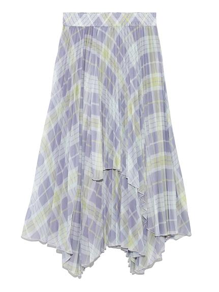 レイヤードロングプリーツスカート(CHECK-0)