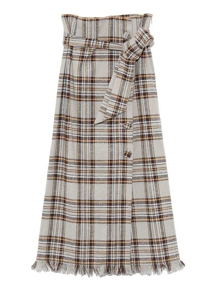 くるみ釦チェックタイトスカート