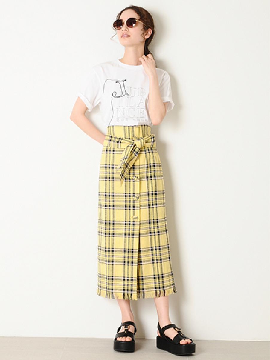 くるみ釦チェックタイトスカート(YEL-0)