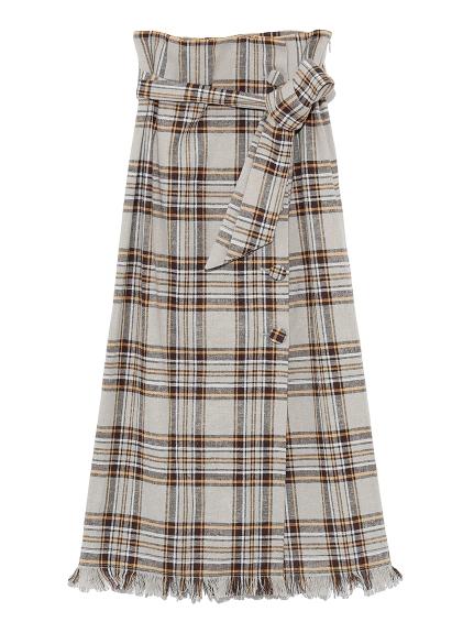 くるみ釦チェックタイトスカート(BEG-0)