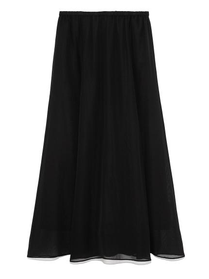 ウエストゴムフレアマキシスカート(BLK-0)