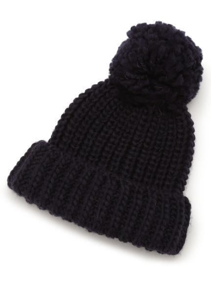 ポンポンニット帽(NVY-F)