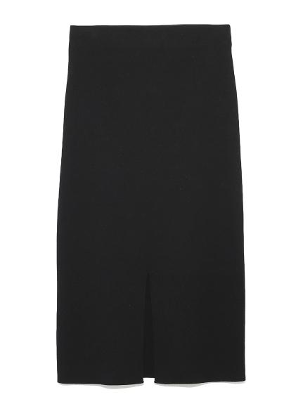 フロントスリットニットタイトスカート(BLK-0)