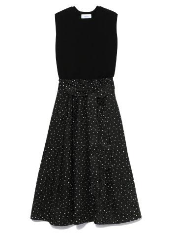 summer dress 毎年人気のニットドッキング フレアワンピース
